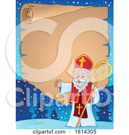 Clipart of Saint Nicholas Waving on a Scroll Border - Royalty Free Vector Illustration by visekart