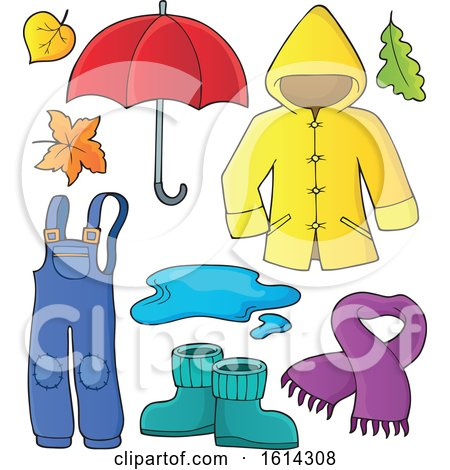 Clipart of a Rain Coat and Gear - Royalty Free Vector Illustration by visekart
