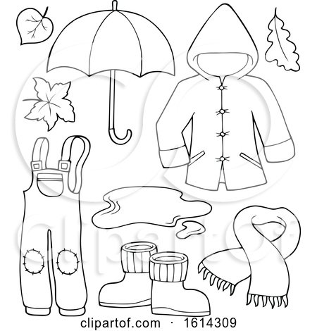 Clipart of a Black and White Rain Coat and Gear - Royalty Free Vector Illustration by visekart