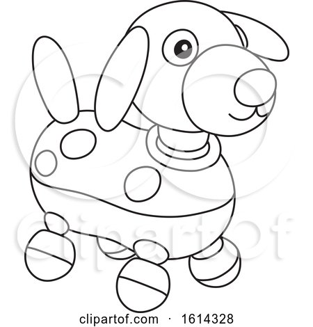 Clipart Of A Lineart Puppy Dog Toy