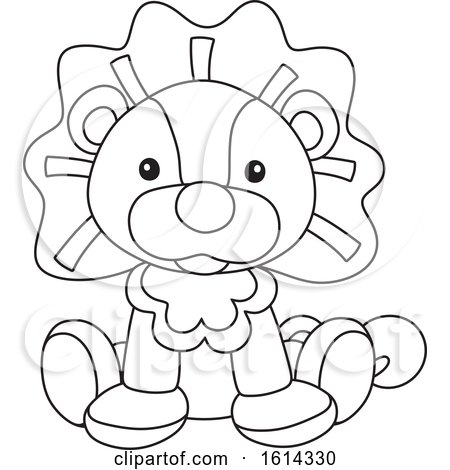 Clipart of a Lineart Lion Toy - Royalty Free Vector Illustration by Alex Bannykh