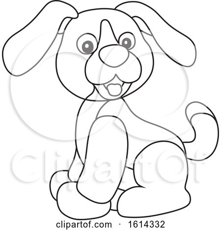 Clipart of a Lineart Puppy Toy - Royalty Free Vector Illustration by Alex Bannykh