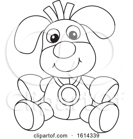 Clipart of a Lineart Dog Toy - Royalty Free Vector Illustration by Alex Bannykh