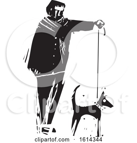 Clipart of a Man Walking a Dog, Black and White - Royalty Free Vector Illustration by xunantunich