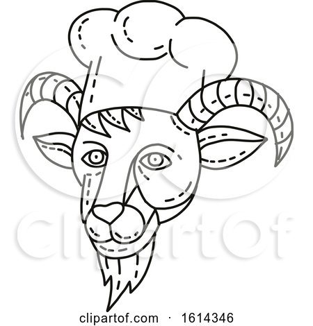 Clipart of a Mountain Goat Chef Head in Black and White - Royalty Free Vector Illustration by patrimonio