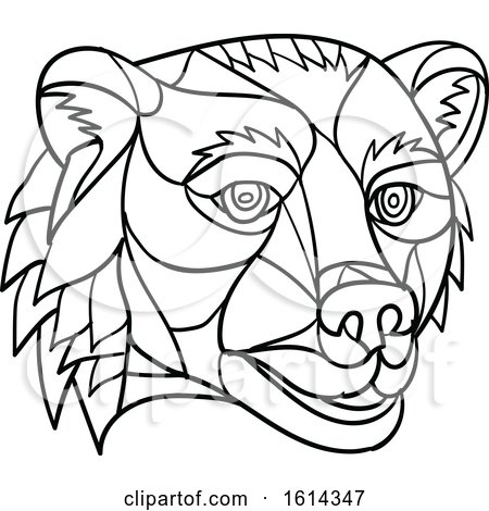 Clipart of a Black and White Low Polygon Grizzly Bear Mascot Head - Royalty Free Vector Illustration by patrimonio