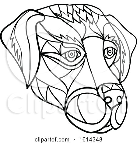 Clipart of a Black and White Low Polygon Labrador Retriever Dog Mascot Head - Royalty Free Vector Illustration by patrimonio