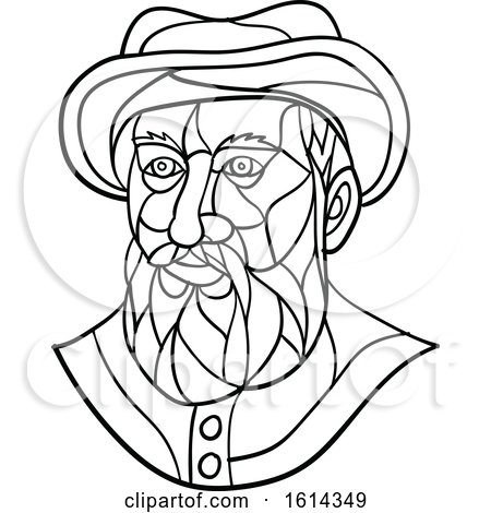 Clipart of a Low Polygon Black and White Spanish or Portuguese Explorer or Naval Officer, Ferdinand Magellan Wearing a Hat - Royalty Free Vector Illustration by patrimonio