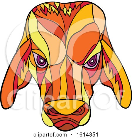 Clipart of a Low Polygon Brahma Bull Mascot Head - Royalty Free Vector Illustration by patrimonio