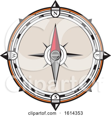 Clipart of a Retro Compass - Royalty Free Vector Illustration by patrimonio