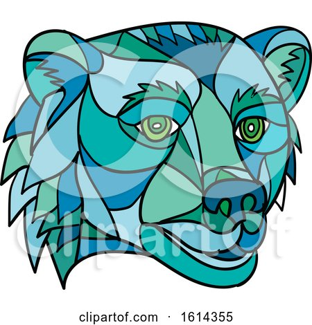 Clipart of a Low Polygon Grizzly Bear Mascot Head - Royalty Free Vector Illustration by patrimonio