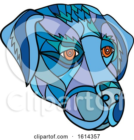 Clipart of a Low Polygon Labrador Retriever Dog Mascot Head - Royalty Free Vector Illustration by patrimonio