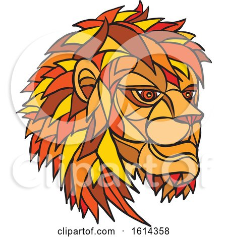 Clipart of a Low Polygon Male Lion Mascot Head - Royalty Free Vector Illustration by patrimonio