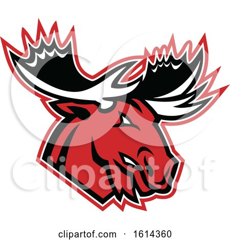 Clipart of a Tough Red Moose or Elk Mascot - Royalty Free Vector Illustration by patrimonio