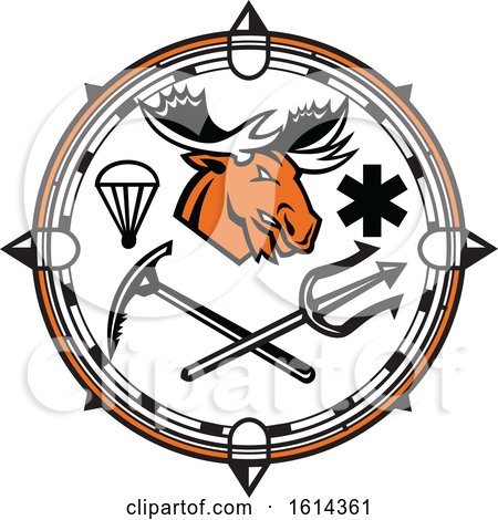 Clipart of a Moose Mascot Inside Compass Land, Sea and Air Emergency Rescue Design - Royalty Free Vector Illustration by patrimonio
