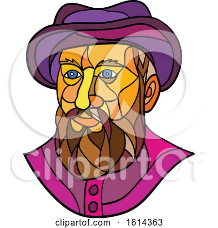 Clipart of a Low Polygon Spanish or Portuguese Explorer or Naval Officer, Ferdinand Magellan Wearing a Hat - Royalty Free Vector Illustration by patrimonio