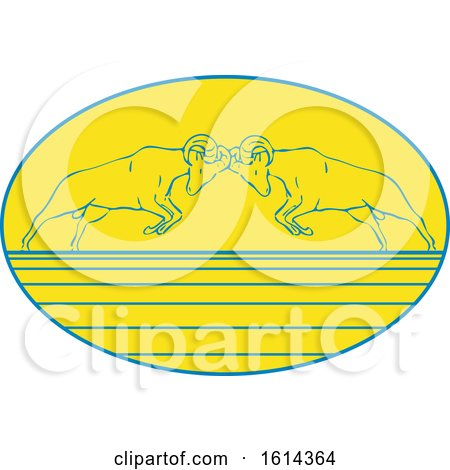 Clipart of Sketched Bighorn Sheep Butting Heads in an Oval - Royalty Free Vector Illustration by patrimonio