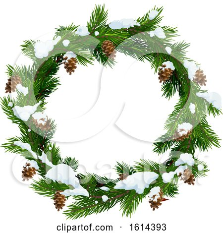 Clipart of a Pinecone and Branch Christmas Wreath with Snow - Royalty Free Vector Illustration by Vector Tradition SM