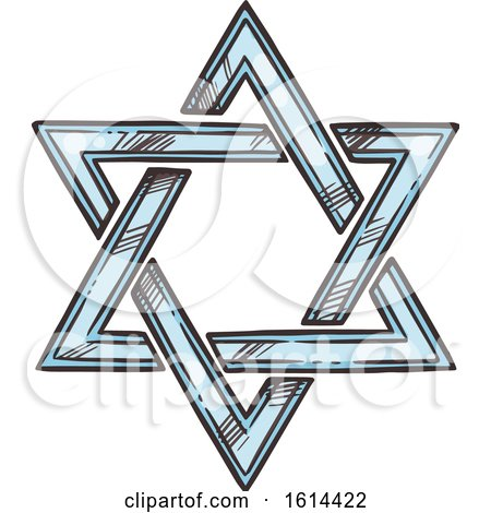 Clipart of a Sketched Star of David - Royalty Free Vector Illustration by Vector Tradition SM