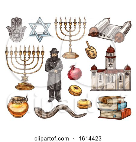 Clipart of Sketched Jewish Items - Royalty Free Vector Illustration by Vector Tradition SM