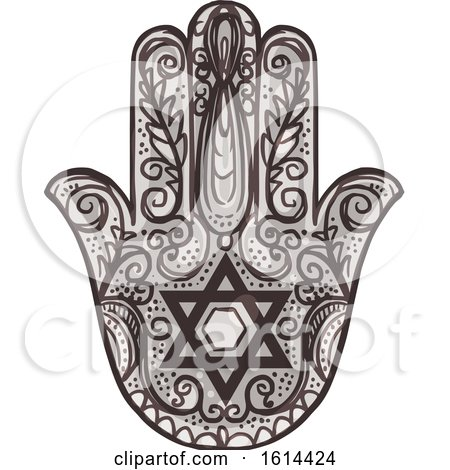 Clipart of a Sketched Hamsa Hand - Royalty Free Vector Illustration by Vector Tradition SM