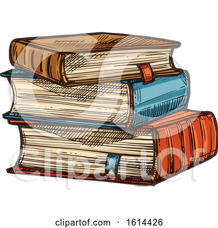 Clipart of a Sketched Stack of Books - Royalty Free Vector Illustration by Vector Tradition SM