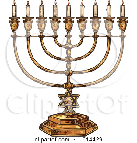 Clipart of a Sketched Menorah - Royalty Free Vector Illustration by Vector Tradition SM