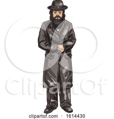 Clipart of a Sketched Rabbi - Royalty Free Vector Illustration by Vector Tradition SM