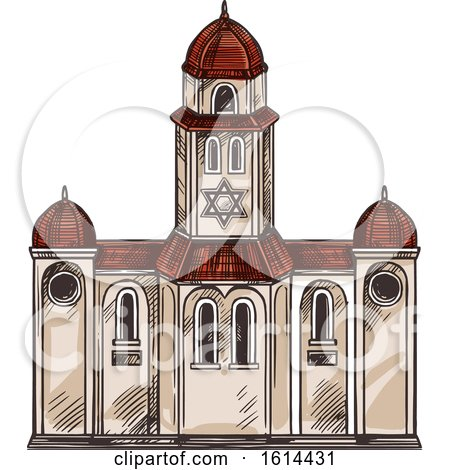 Clipart of a Sketched Jewish Synagogue - Royalty Free Vector Illustration by Vector Tradition SM