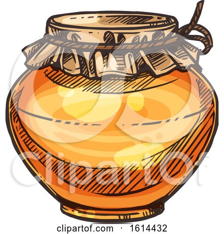 Clipart of a Sketched Jar of Honey - Royalty Free Vector Illustration by Vector Tradition SM