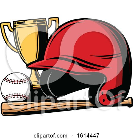 Clipart of a Baseball with a Helmet Bat and Trophy - Royalty Free Vector Illustration by Vector Tradition SM