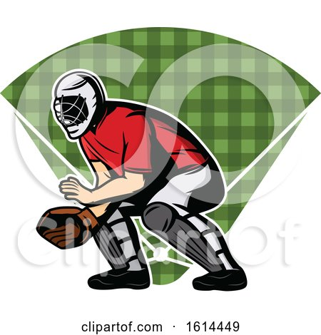 Clipart of a Baseball Catcher over a Field - Royalty Free Vector Illustration by Vector Tradition SM