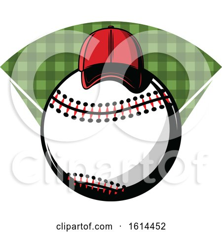 Clipart of a Hat on a Baseball - Royalty Free Vector Illustration by Vector Tradition SM