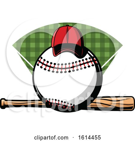 Clipart of a Hat on a Baseball over a Bat - Royalty Free Vector Illustration by Vector Tradition SM