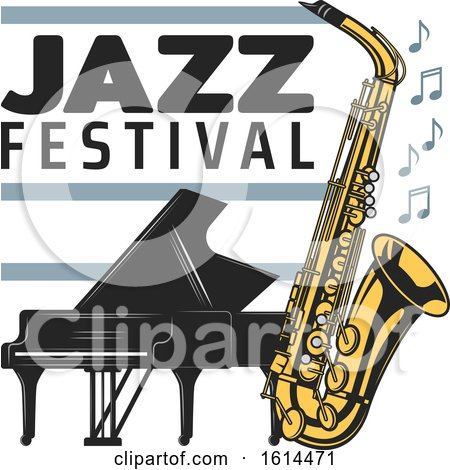 Clipart of a Piano and Saxophone Jazz Festival Design - Royalty Free Vector Illustration by Vector Tradition SM