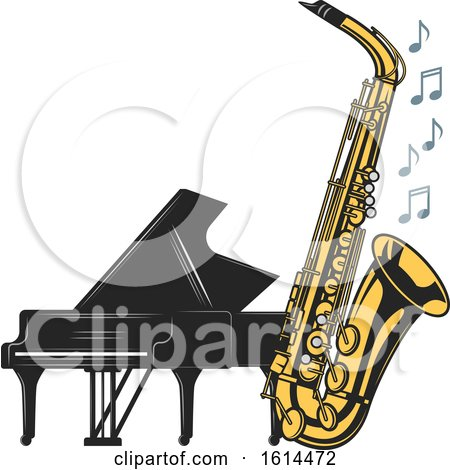 Clipart of a Piano and Saxophone - Royalty Free Vector Illustration by Vector Tradition SM