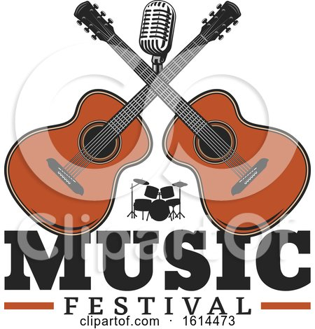 Clipart of a Music Festival Crossed Guitars Design - Royalty Free Vector Illustration by Vector Tradition SM