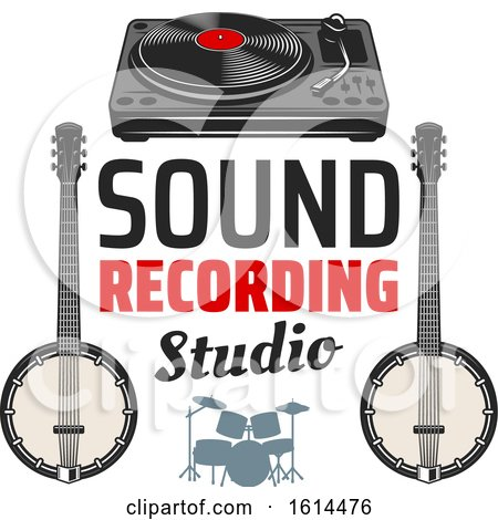 Clipart of a Sound Recording Studio Design - Royalty Free Vector Illustration by Vector Tradition SM