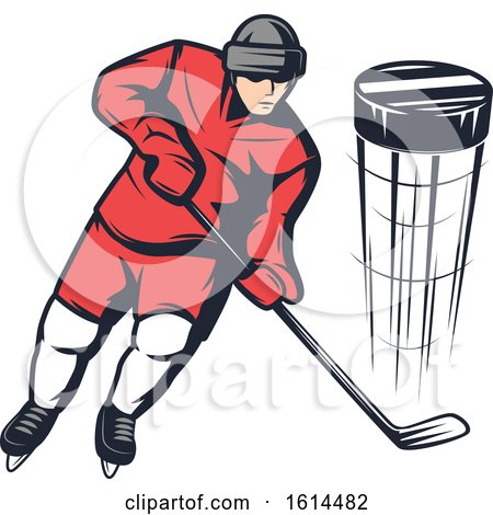 Clipart of a Hockey Player - Royalty Free Vector Illustration by Vector Tradition SM