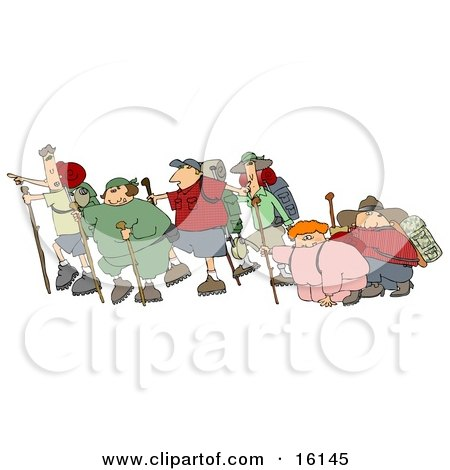 Three Couples With One Skinny Partner And One Chubby Partner Per Couple, All Taking A Hike Together While Two Of Them Struggle Clipart Illustration by djart