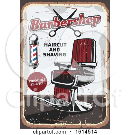 Clipart of a Distressed Barbershop Design - Royalty Free Vector Illustration by Vector Tradition SM