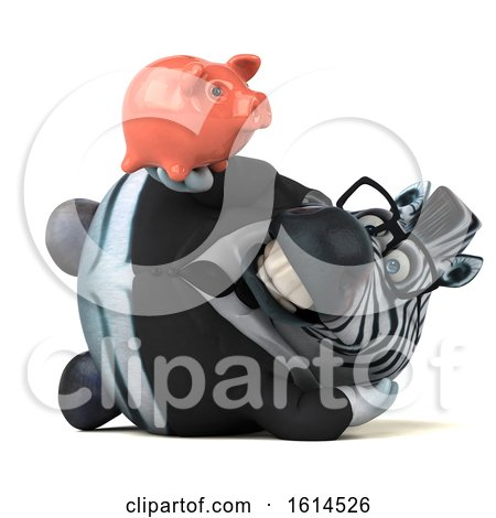 Clipart of a 3d Business Zebra, on a White Background - Royalty Free Illustration by Julos