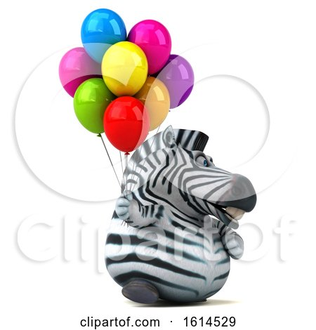 Clipart of a 3d Zebra, on a White Background - Royalty Free Illustration by Julos