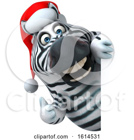 Clipart of a 3d Christmas Zebra, on a White Background - Royalty Free Illustration by Julos