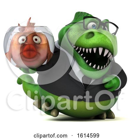 Clipart of a 3d Green Business T Rex Dinosaur, on a White Background - Royalty Free Illustration by Julos