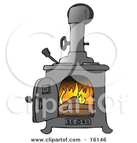 Logs Burning In A Wood Stove To Keep A House Warm Clipart