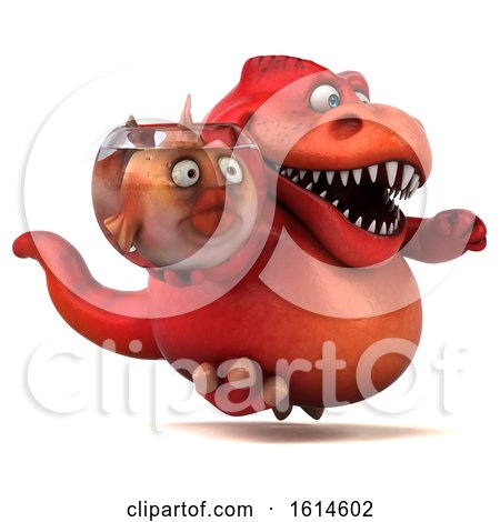 Clipart of a 3d Red T Rex Dinosaur, on a White Background - Royalty Free Illustration by Julos