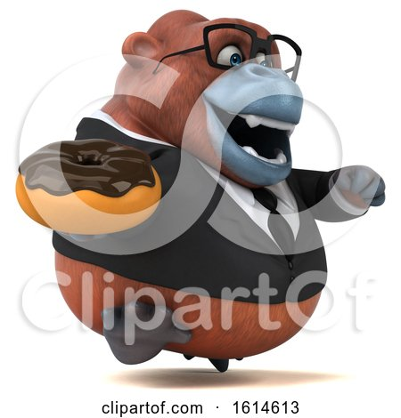 Clipart of a 3d Business Orangutan Monkey, on a White Background - Royalty Free Illustration by Julos