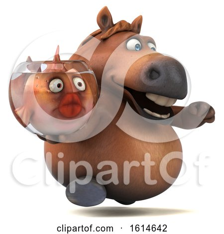 Clipart of a 3d Chubby Brown Horse, on a White Background - Royalty Free Illustration by Julos