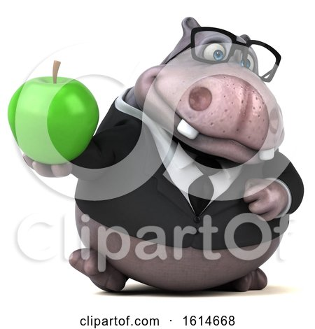 Clipart of a 3d Business Hippo, on a White Background - Royalty Free Illustration by Julos